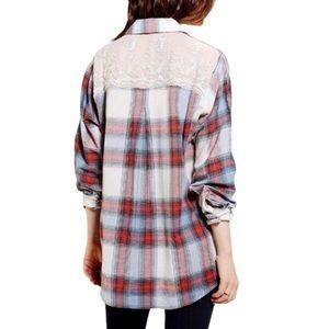 BDG Lace Back Plaid Shirt sz L